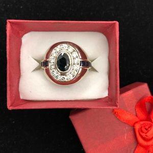 14k Italian Diamond Sapphire Ring